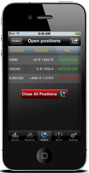 iBroke Mobile Trading Platform - Open Positions